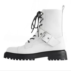 NEW 🖤 Zara White Moto Combat Boots with lace up and buckle detail